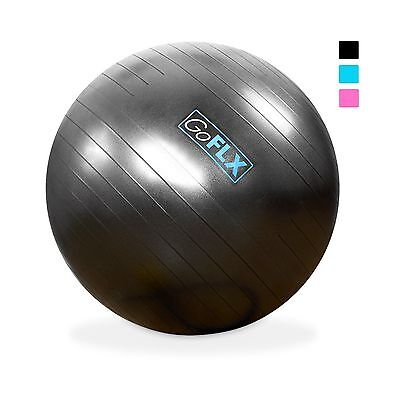 GoFLX Exercise Ball - 75cm Anti-Burst Rubber Execrise Ball With Free Infl... New
