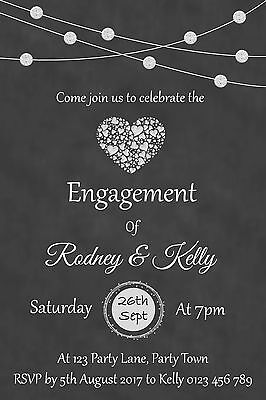 Personalised Chalkboard Engagement Party Invitation - You Print