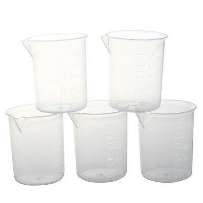 5 pieces of 100 ml Transparent measuring cup Laboratory plastic measuring SN