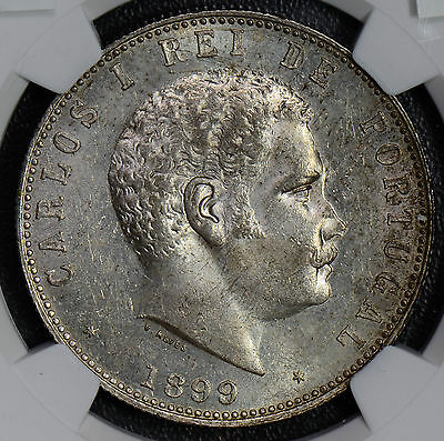 NG0337 Portugal 1899 1000 Reis silver NGC MS62