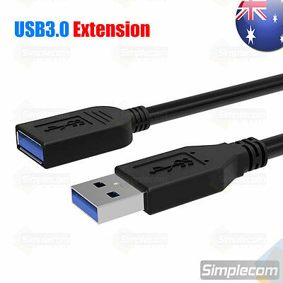 1M USB 3.0 SuperSpeed Extension Cable Insulation Protected Male to Female Black
