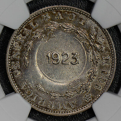 NG0363 Costa Rica 1923 Colon silver NGC MS63 counterstamp on costa rica 50C comb