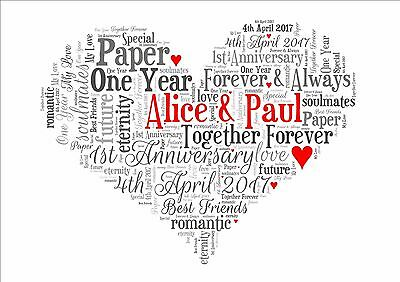 personalised word art wedding anniversary engagement picture print gift framed