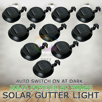 10x 3LED Solar Powered Fence Gutter Light Wall Pathway Lamp Garden Yard Black AU