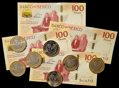 Mexico, Commemorative Set Coin & Banknote 20 - 100 Pesos 2017 UNC