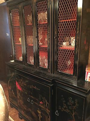 Chinese Black Lacquer Buffet / Desk Cabinet