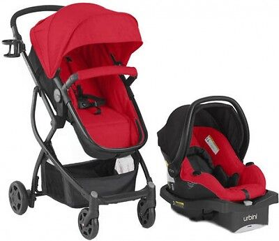Baby Stroller Car Seat Urbini Omni Plus Travel System 3in1 Infant Buggy (RED)