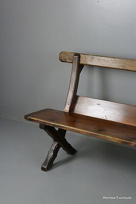 Long Stained Pine Bench Pew Kitchen Hall Seat