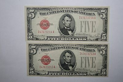 1928 F $5 Red Seal 2 Consecutive Notes Cu Unc