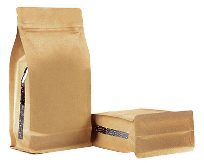 Kraft Paper Stand Up Pouch With Side Window Coffee Seeds Nuts Grip Heat Seal Bag