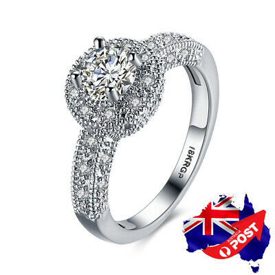 18K Platinum Plated 8mm Crystal Classic Wedding Engagement Band Ring Stunning