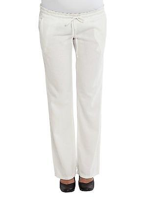 Maternity Linen Cream/Ivory Pregnancy Loose Summer Comfy Trousers Mamalicious