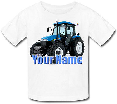 Blue Tractor Personalised Baby T-Shirt - Great Gift For Any Child & Named Too
