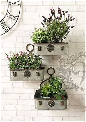 Retro Vintage Industrial Style Metal Shelf Storage Suitcase Wall Plant Display