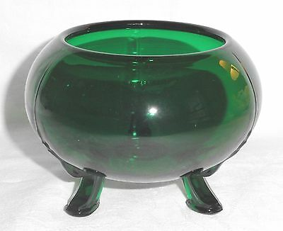 Vtg Green Glass Round Vase Planter Bowl Footed