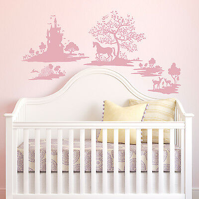 DWELLSTUDIO FABLE WALL DECALS Big Pink Nursery Stickers Princess Castle Decor