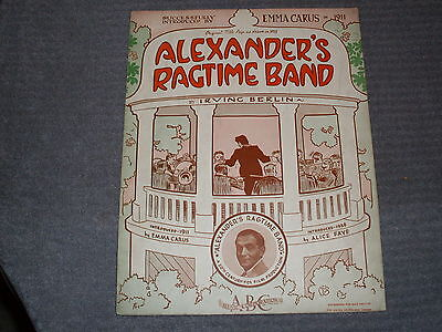 "Vintage Sheet Music. 1938 ""Alexander's Ragtime Band"",  pub by ABC Music Corp"