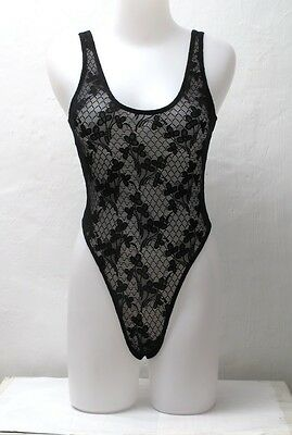 New Black Floral Pattern Fishnet Spandex Thong Leotard for Women size 8 small