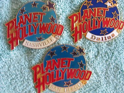 New Planet Hollywood Globe Pins -Three