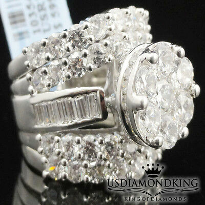 Ladies Big Bold 13Ctw Real Genuine Sterling Silver Silver Engagement Ring Band