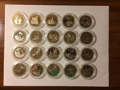Russia 1991-1995 3 Rouble Proof 20 Coin Set 50th Anniversary Of Victory WW2