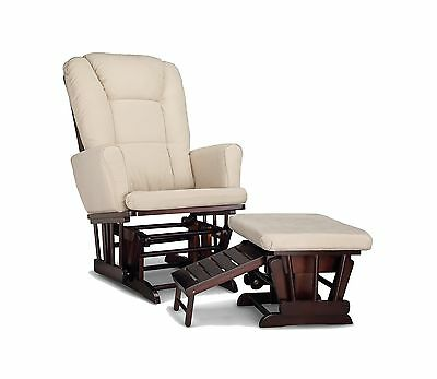 Graco Sterling Semi-Upholstered Glider and Nursing Ottoman Espresso/Beige New