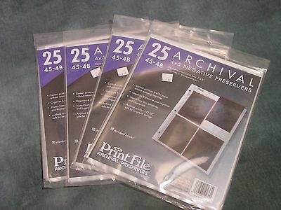 Print File 45-4B Negative Preservers for 4x5 film 4 Paks of 25 pages