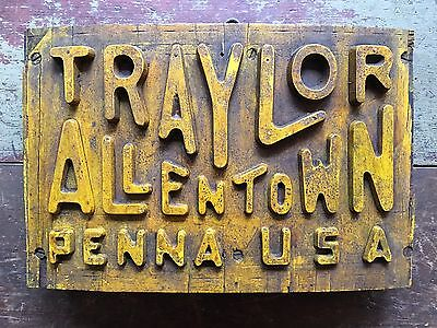 Vintage Traylor Engineering Mine Mill Smelting Wooden Sign Mold Allentown Pa.