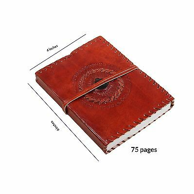 Store Indya Leather Travel Diary Unlined Journal (8 x 6) Embedded with Bl... New