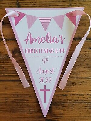 Personalised GIRL Christening /  Baptism / Naming Day  Bunting Banner Decoration