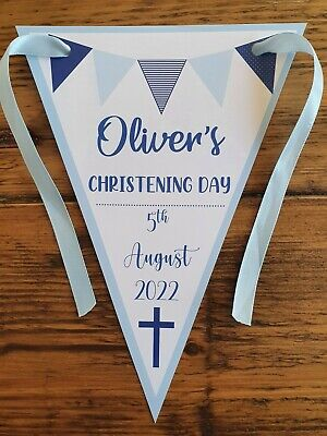 Personalised BOY Christening / Baptism  / Naming Day Party Bunting Decoration