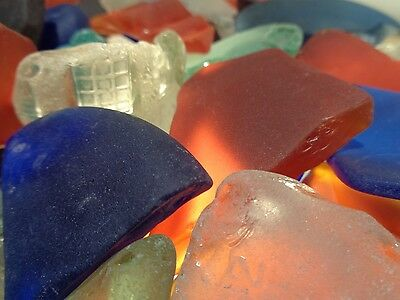 3 LBS Large Assorted GENUINE BEACH Sea GLASS, SURF, TUMBLED Colors