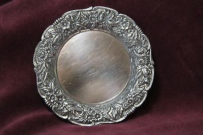 S Kirk & Son Repousse Sterling Silver .925 Butter Pat  Dish ,  # 17F , 1.3 oz