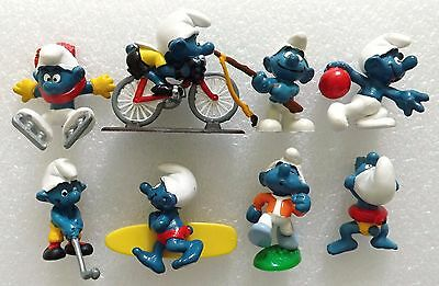 VINTAGE 80's SUPER SPORTS SMURF GOLF SURFING FISHING BOWLING CYCLING ~LOT OF 8