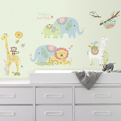 TRIBAL BABY ANIMALS WALL DECALS Big Lions Elephants Llama Stickers Nursery Decor
