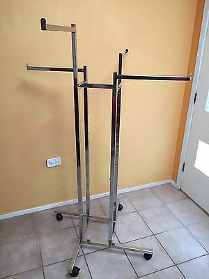Commercial 4 Arm Clothing Rack on castors/wheels