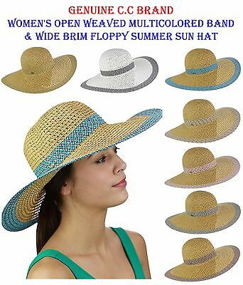 b9707f8dfadf9 C.C Women s Open Weaved Multicolored Band and Wide Brim Floppy Summer CC  Sun Hat