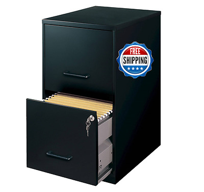 HIRSH Black Vertical 2-Drawer Filing Cabinet Metal Home Office