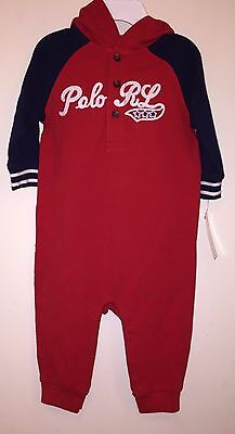 NWT Ralph Lauren Baby Boys Baseball Coveralls Red Size 6M 6 Months