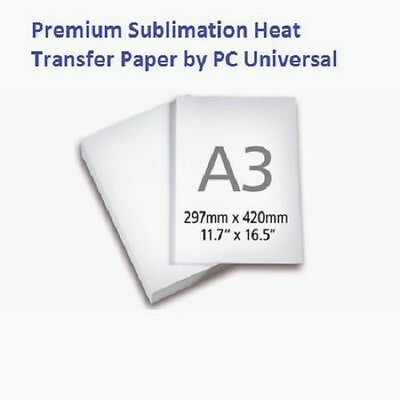 100 Sheets A3(11.7x16.5) Premium Quality Sublimation Paper, Heat Transfer Paper