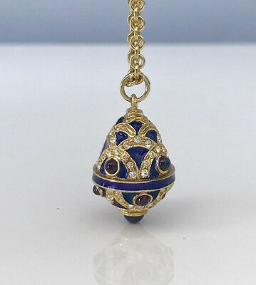 NEW! Russian egg-shaped pendant with golden chain