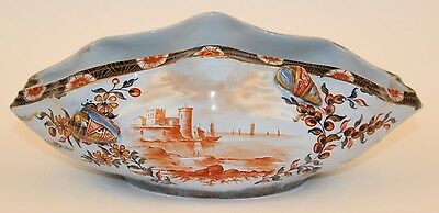 Rare Emile Galle Faience Shell / Clam Form Tin Glaze Scenic Bowl
