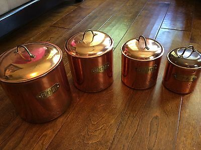 Vintage Copper Plated Kitchen Canister Set,4 Pieces Brass Name Plate lids,patina