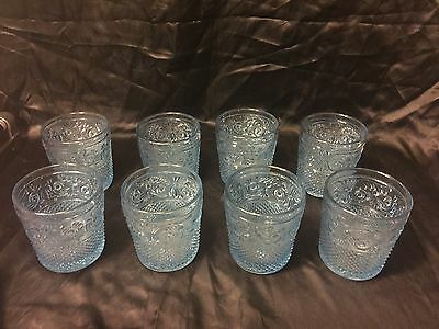 Rare Antique Set of 8 Light Blue St. Louis Baccarat French Lacy Drinking Glasses