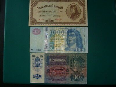 Hungary-Austria Currency  Forint  Pengo  Kronen Lot Of Three  Xf
