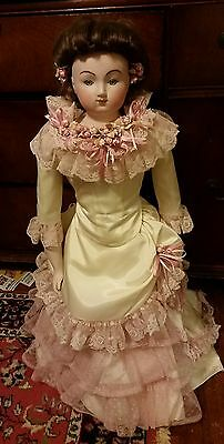 Beautiful 30 inch Porcelain  Doll With Fancy Victorian Pink & Cream Dress