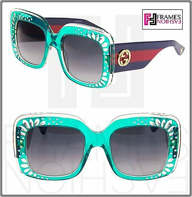 215881b692f GUCCI RHINESTONE 3862 Turquoise Green Blue Red Crystal Square Sunglasses  GG3862S