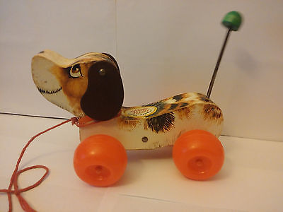 Vintage Fisher Price Little Snoopy Wooden Dog Pull Toy 1965 #693