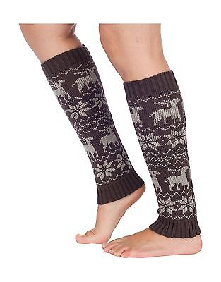 Sakkas Gisele Knit Leg Warmers Reindeer Grey One Size New