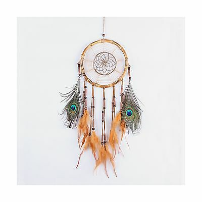Molshine Handmade Dream Catcher with Natural Peacock Feathers Wall Hangin... New